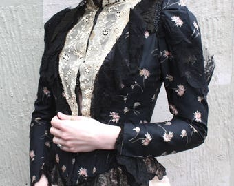 Antique Victorian Bodice Blouse // 1890s 1900s Pointed Hem Pink Floral & Black Silk Bodice Jacket Corset Blouse w/ Chantilly Lace Trim