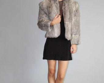 Vintage 1980s Short Gray Rabbit Fur Coat  - Gray Rabbit Fur Coat  - The Lexie Coat  - W00160