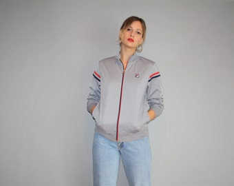 1990s Vintage FILA Warmup Gray Trainer Track Jacket  - Vintage FILA Jacket  - Vintage Grey Jacket  - W000309