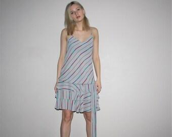 Vintage 1980s Gray Rainbow Graphic Abstract Minimalist Drop Waist Flapper Slip Dress With Frill Skirt   -  1980s  Dresses  - W00640