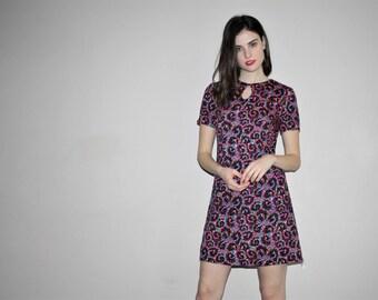 Vintage 60s Neon Floral Mod Psychedelic Dress - Short 1960s Dresses - 1960s Clothing - W00813
