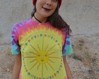 Vintage 80s  Grateful Dead Tee Paperthin Tie Dye Rainbow Dancing Bears Tshirt Band Tee Small