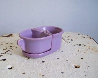Vintage nesting cream and sugar Camark Pottery Arkansas lovely lavender glaze perfect condition