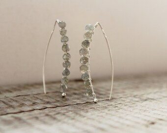 Labradorite Earrings. Wire Wrapped Silver Earrings. Genuine Labradorite Drop Earrings. Light Grey Earrings.