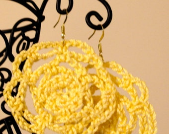 Yellow Rosette Crochet Earrings