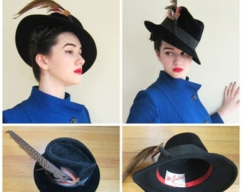 Vintage 1970s Black Wool Fedora with Feather / 70s Wide Brimmed Hat by Mr Jules