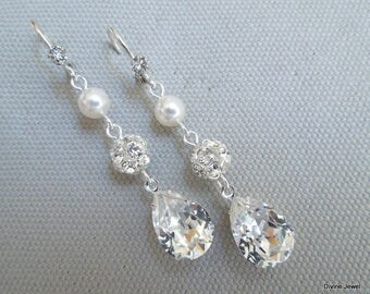 Pearl Earrings, Bridal rhinestone Earrings, Bridal stud Earrings, swarovski pearl earrings, Wedding Pearl Earrings, dangle earrings, MARIBEL