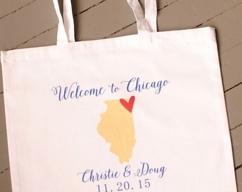 Custom State Wedding Tote Bag - wedding bags, wedding totes, welcome tote bags, wedding welcome bags, hotel welcome bags