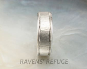 mens platinum wedding band, textured with milgrain -- 7mm wide platinum wedding ring for men -- hand forged by Ravens' Refuge