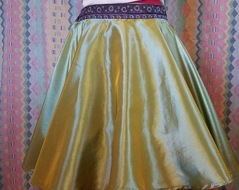 Green skirt, iridescent skirt, shiny skirt, circle skirt