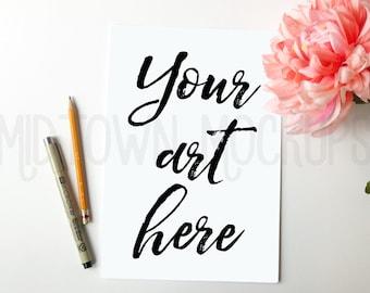 Feminine Desk Print Mockup, mum, template for shop owners, photography, Styled Photography Mockup, Digital Frame, Instant download