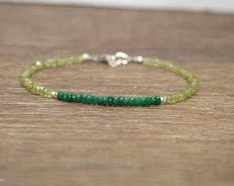 Emerald & Peridot Bracelet, Beaded, Stacking, Peridot Jewelry, Gemstone Bracelet, May Birthstone, Sterling Silver or Gold Filled