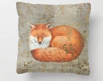 "Pillow ....""""  Red Fox Among Thorns """" Print Art Pillow - woodland fine art -living room - childrens room - nursery - babies -"