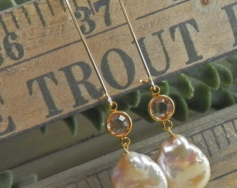 Peachy Pink Freshwater Coin Pearl and Crystal Gold Filled Earrings with Oversized Kidney Ear Wires
