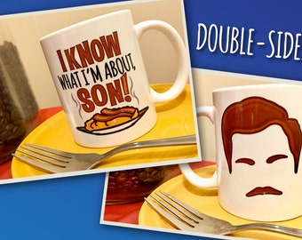 "Ron Swanson ""I Know What I'm About, Son"" Breakfast Food Mustache Double-Sided Parks and Recreation Mug"