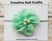 18 Inch Doll Mint Flower Headband, Flower Headband For Dolls, Flower Mesh Headband, 15 Inch Doll Headband, Doll Hair Flower