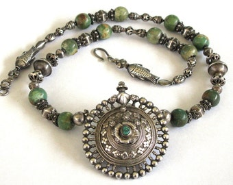"Antique Indian Necklace, Madhya Pradesh Silver Earplug Earring Pendant, Chinese Turquoise, Sri Lanka Silver Beads, 65cm (25 1/2""), 105 Grams"