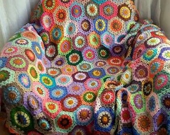 Crochet Hexagonal Granny Square Blanket Afghan Blanket Traditional Sofa Throw Home and Living Accessories Ready to Ship! Free Shipment