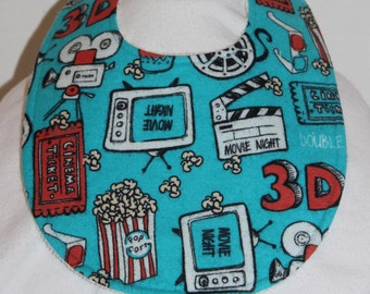 Movie Time Flannel / Terry Cloth Bib