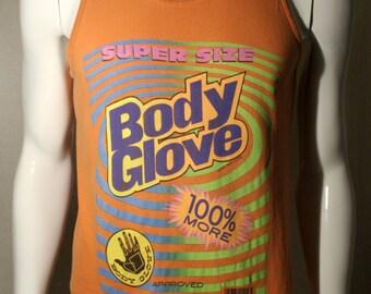 90's Body Glove - colorful surfing skateboarding summer water skiing sports athletic orange cotton singlet tank top - men's sz S/M