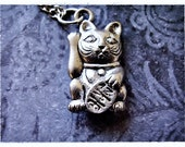 Silver Maneki Neko Lucky Cat of Japan Necklace - Antique Pewter Maneki Neko Charm on a Delicate Silver Plated Cable Chain or Charm Only