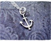 Tiny Silver Trident Anchor Necklace - Sterling Silver Trident Anchor Charm on a Delicate Sterling Silver Cable Chain or Charm Only