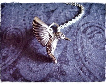 Silver Hummingbird Necklace - Sterling Silver Hummingbird Charm on a Delicate Sterling Silver Cable Chain or Charm Only