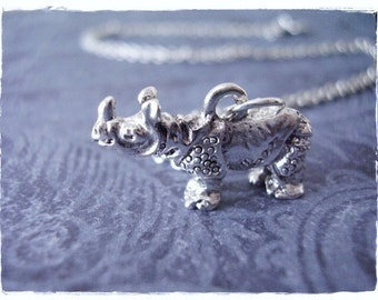 Silver Rhinoceros Necklace - Silver Pewter Rhinoceros Charm on a Delicate Silver Plated Cable Chain or Charm Only