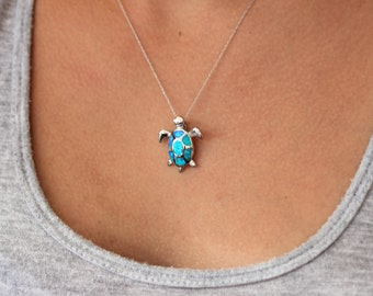 Opal turtle necklace, sterling silver, .925 silver pendant, blue turtle, sea life