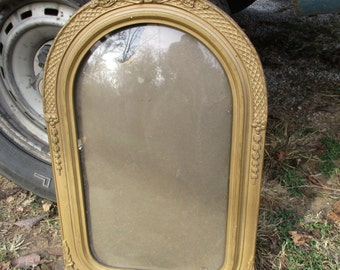 "FREE SHIPPING Antique Gold Gesso Art Deco Convex Bubble Glass Victorian Dome Top Photo Picture Frame, 15"" x 24"""