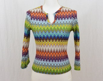 Vintage 90's Missoni Style Shirt, Size XS-Small, Hippie, Trippy, Psychedelic, Rad, Teen, 90's Clothing, Artsy