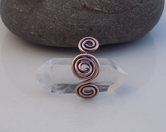 Clear Quartz Drilled Point Swirl Wire Wrapped Oxidized Bare Copper wire Pendant Charm Handmade Jewelry Wire Wrapped Horizontal Double Term