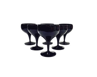 Mid Century Black Coupe Cocktail Glasses / Set of 6