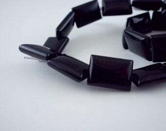 13x18mm Black Onyx Gemstone Puff Rectangle Beads - 15 inch strand - 22 pieces