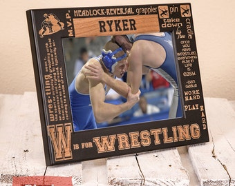 Personalized Wrestling Picture Frame-Wood Engraved-Get your name engraved!
