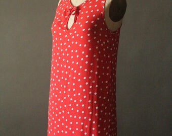 Vintage 90's Red and White Polka dot Tank Shift Dress by Johanne Beck, size S