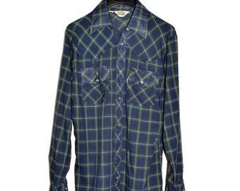 ON SALE Vintage 1977 LEVIS Big E Western Cowboy Plaid Shirt Pearl Snaps M Medium S Small Levi's Tartan