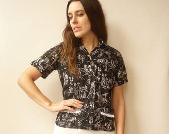 TOOTAL 1950's Vintage Cotton Novelty Printed Rockabilly Shirt Blouse Top Size Small