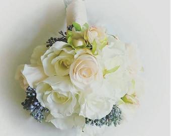 Wedding Bouquet -READY TO SHIP - Rose Bouquet - Sedum Bouquet - Bridal Bouquet - Silk Ribbon Bouquet - Blush Pink - Peach Bouquet