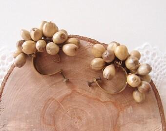 1940s Miriam Haskell Seed Pod fringe Earrings Russian Gold plated Brass huggie hoops screw backs