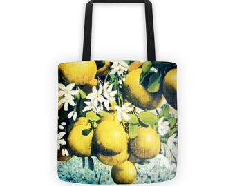 French market tote Lemons reusable produce bag farmers market tote bag, farmers market bag, reusable shopping bag, reusable grocery bag
