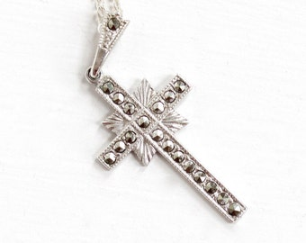 Sale - Vintage Sterling Silver Marcasite Cross Necklace - Vintage Mid Century Christian Ann Gale Crucifix Catholic Religious Pendant Jewelry