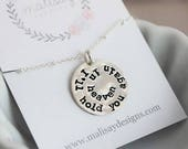 I'll hold you again in heaven sterling silver stamped pendant memorial necklace remembrance gift for her personalized memorial jewelry