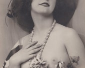 Mireille with Flowers 3, Semi Nude French Postcard by P-C Paris, circa 1920s