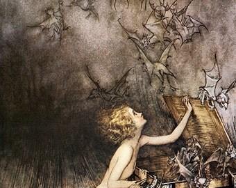 Pandora's Box,  Arthur Rackham, Vinatge Art Print