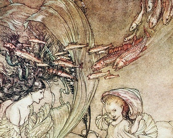 Infancy of Undine, Arthur Rackham, Vinatge Art Print