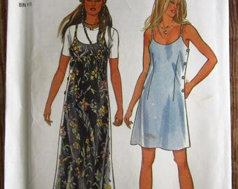 Vintage 1990s Misses Strap Dress in Two Lengths Sizes 6 8 10 12 14 16 New Look Pattern 6345 UNCUT