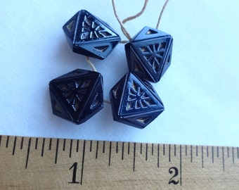 Black Glass Triangle Pattern Buttons