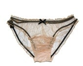 Henrietta NUDE Silk Tulle and Scallop lace Scrunchie knicker pantines  - Gift for her, Valentines day gift