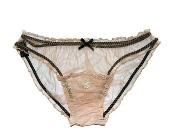 Henrietta NUDE Silk Tulle and Scallop lace Scrunchie knicker, undies, briefs  - sheer panties, Babydoll panties